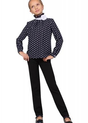 Блузка детская для девочек м-1074  синяя в горох