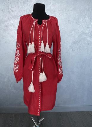 Льняное платье оригинал вышиванка в стиле вита ким dior gucci