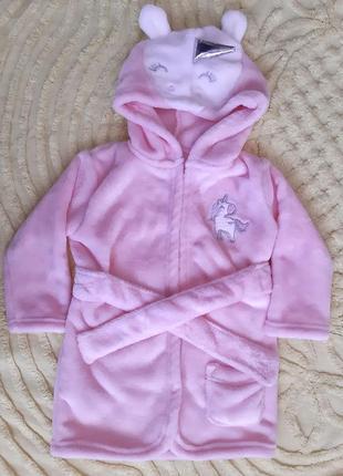 Махровый халат плюшевый единорог george  9-12 м для девочки