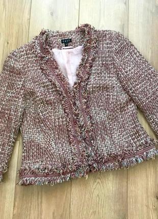 Фактурный твидовый пиджак жакет в стиле chanel