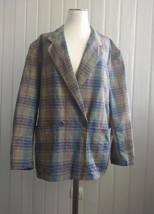 Жакет двубортный в клетку пиджак лён с катоном 50-52 размер
