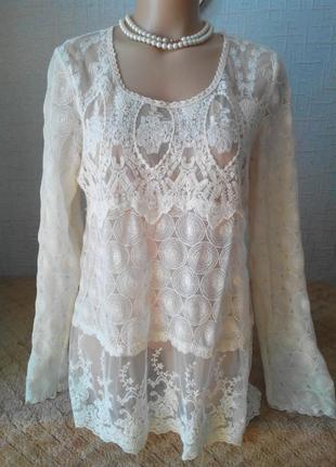 Очень красивая блуза  кружево zay clothing