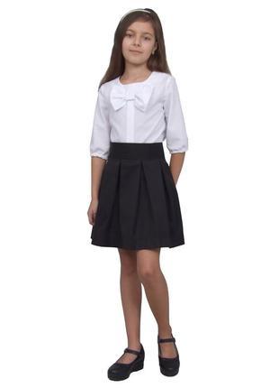 Блуза попелюшка 1138 белая с коротким рукавом для девочки