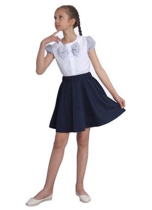 Блуза попелюшка 1137 белая с коротким рукавом