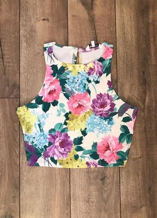 Яркий модный топ в цветы размер xs-s