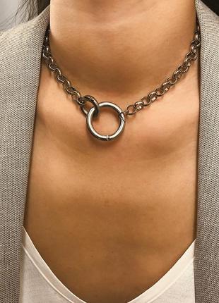 Цепь цепочка колье ожерелье с кольцом кольцами под серебро новая