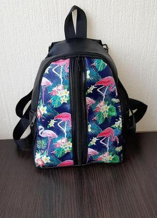 Модный рюкзак из кожзама, розовый фламинго !