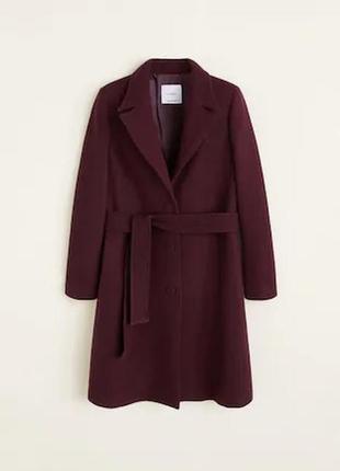 Пальто шерсть цвет хит марсала премиум от манго пальто mango все размеры!