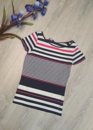Sale базовая хлопковая футболка в тёмно синюю розовою полоску белая