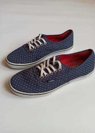 Vans 38 женские кеды синие в горошек легкие ванс кроссовки слипоны