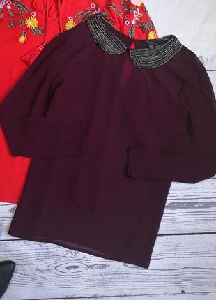 Баклажановая блуза с украшением на воротнике от zara
