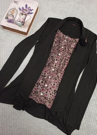 Элегантная кофточка блуза двойка, хлопок, 42-44 укр