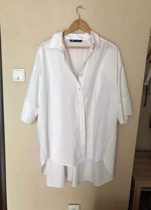Удлинённая белая рубашка от zara