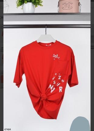 Стильная красная футболка большой размер батал оверсайз