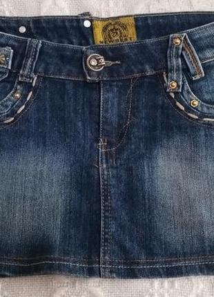Джинсовая мини юбка р.28