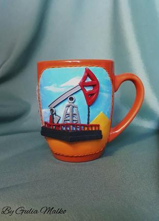 Чашка с нефтяной вышкой