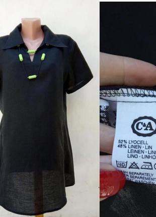 Хит 2020! новая комфортная легкая черная льняная туника свободного кроя c&a,блуза,рубашка.