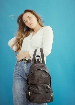 Женский кожаный рюкзак bagster, стильный черный рюкзак из кожи, городской рюкзак