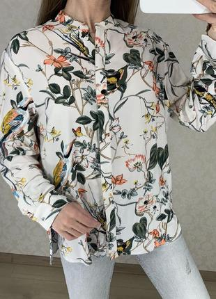 Легкая натуральная блуза с цветочным принтом warehouse