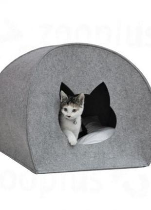"""Домик для кота из войлока """"палатка"""" серый"""