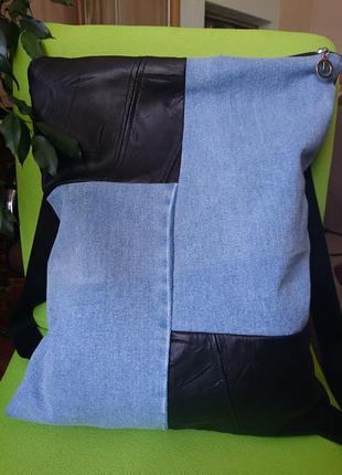 Большая кожаная сумка-трансформер_сумка-рюкзак планшет_ кожаный рюкзак