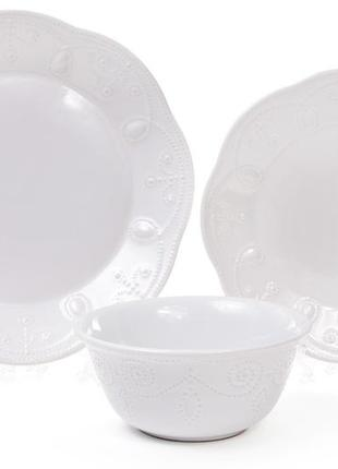 Sale набор столовой посуды на 12 персон, белый, керамика, bonadi