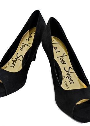 Женские черные туфли на каблуке  george. код 3080.