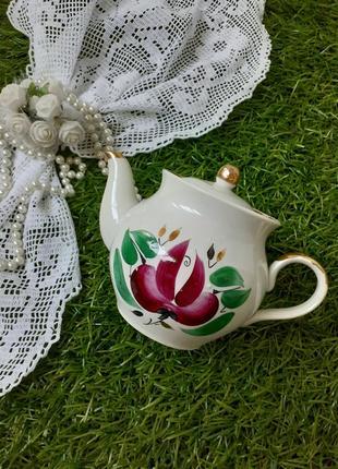 Чайник заварник дружковский фарфор ручная роспись винтаж