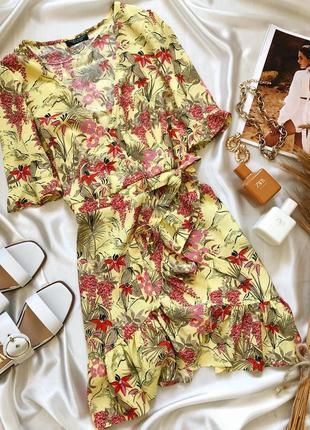 Сарафан/платье на запах желтого цвета в цветы zara