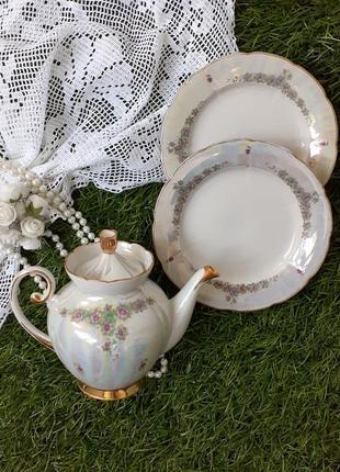 Сервиз фарфор чайник и тарелки дружковский винтаж люстр деколь глазурь