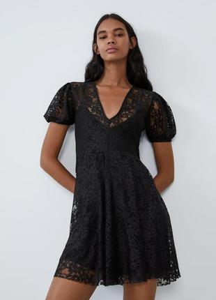 Платье черное гипюровое zara