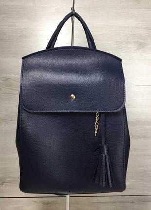 Молодежный женский сумка-рюкзак в синем цвете из искусственной кожи высокого качества