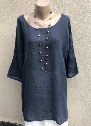 Льняная блуза туника платье реглан,этно бохо стиль,