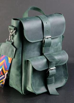 Кожа. ручная работа. кожаный зеленый рюкзак, рюкзачок. сумка рюкзак, рюкзак трансформер