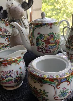 Китайский кофейно-чайный сервиз ручной работы на 6 персон винтаж китай