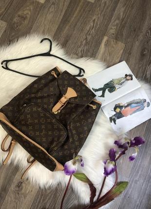 Кожаный лакшери рюкзак louis vuitton большой красивый модный стильный