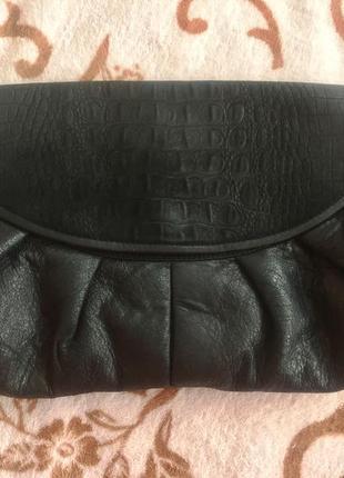 Клатч сумка из мягкой натуральной кожи с замшевой вставкой