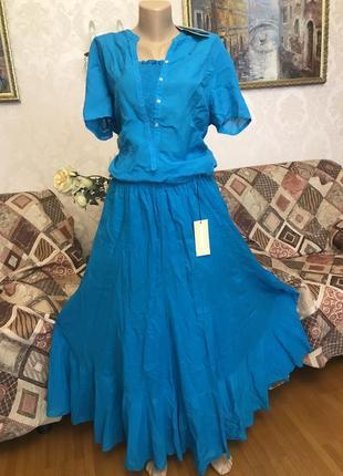 Костюм летний невесомый свободный zara woman юбка+туника, батист.