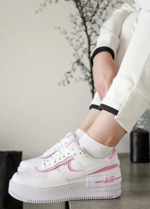 Кроссовки nike air force белые с розовым новые кожаные