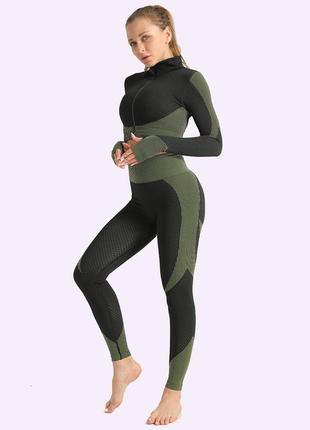 Женский спортивный костюм для фитнеса, йоги лосины, топ, зеленый (леггинсы, комплект)