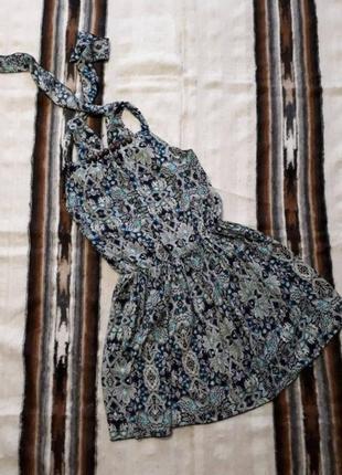 Распродажа сарафан на завязках декорирован деревянными бусами хлопок р s-m