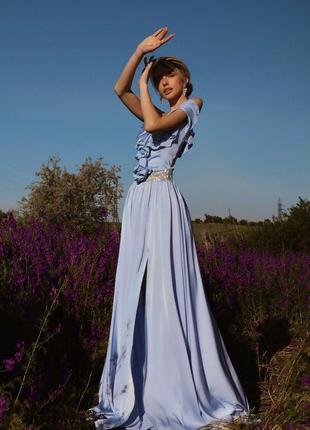 Вечернее шелковое платье атласное в пол