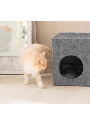 """Для кота из войлока """"куб"""" серый"""