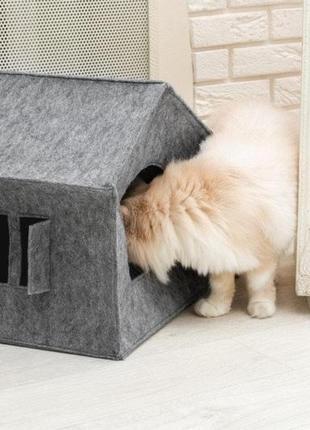 """Домик для кота """"теремок"""" из войлока серый"""