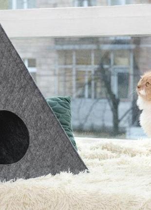 """Треугольный домик для кота из войлока """"пирамида"""" серый"""