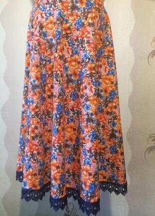 Шикарная юбка из натурального сатина
