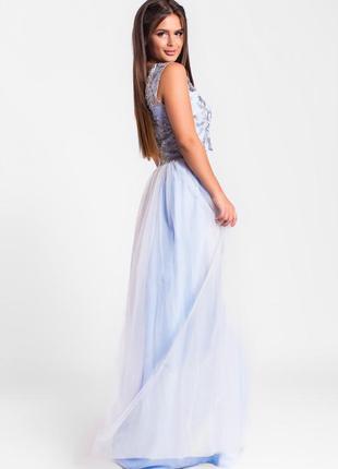 Шикарное длинное платье голубое арт17153 фото