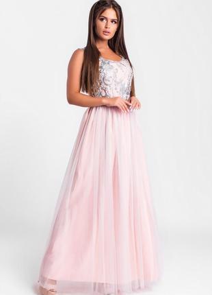 Шикарное длинное платье розовое арт17152 фото