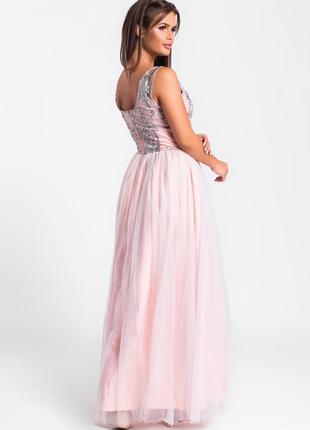 Шикарное длинное платье розовое арт17153 фото
