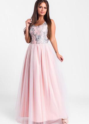Шикарное длинное платье розовое арт1715